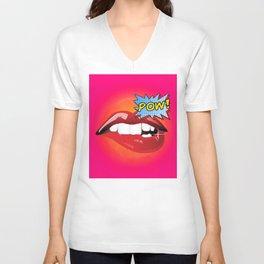 Pow! Sexy lips Fashion Pop Art Unisex V-Neck