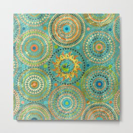 Aztect Lizard in sun symbol on  geometric pattern Metal Print