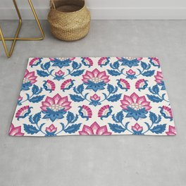 JACOBEAN floral 07, deep blue and pink Rug