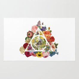 Floral Deathly Hallows - White Rug