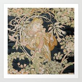 1898 - 1900 Femme a Marguerite by Alphonse Mucha Art Print