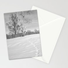 Footprints in the snow Stationery Cards