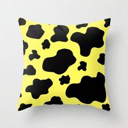 Cow Print Pattern / White / Black / GFTCowPrint002 / Yellow Background  Throw Pillow