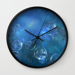 floating bubbles blue watercolor space background Wall Clock