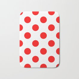 Large Polka Dots - Red on White Bath Mat