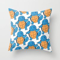 squirtle Throw Pillows featuring  1 Squirtle, 2 Squirtle, 3 Squirtle, 4 by pkarnold + The Cult Print Shop