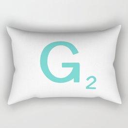 Aqua Letter G Custom Scrabble Rectangular Pillow