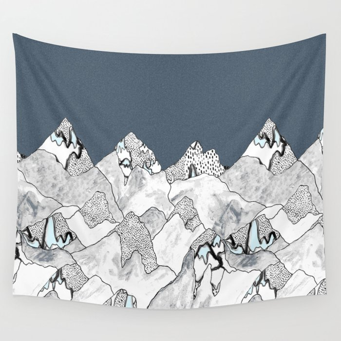 At night in the mountains Wall Tapestry