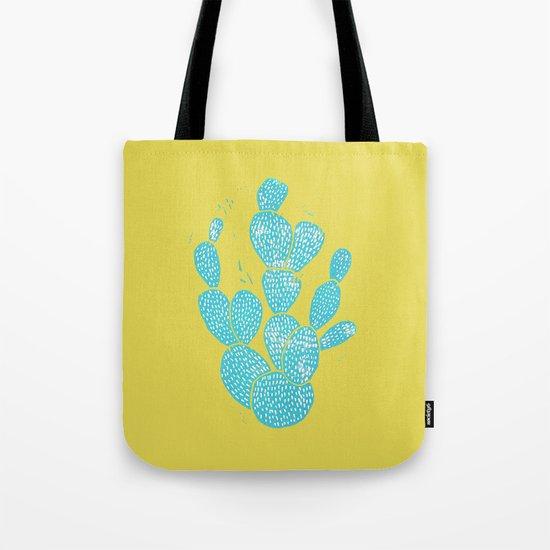 Linocut Cactus #1 Desert Blue Tote Bag
