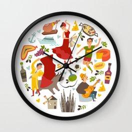 Spain, touristic symbols vector. Colorfull hand drawn illustration Wall Clock