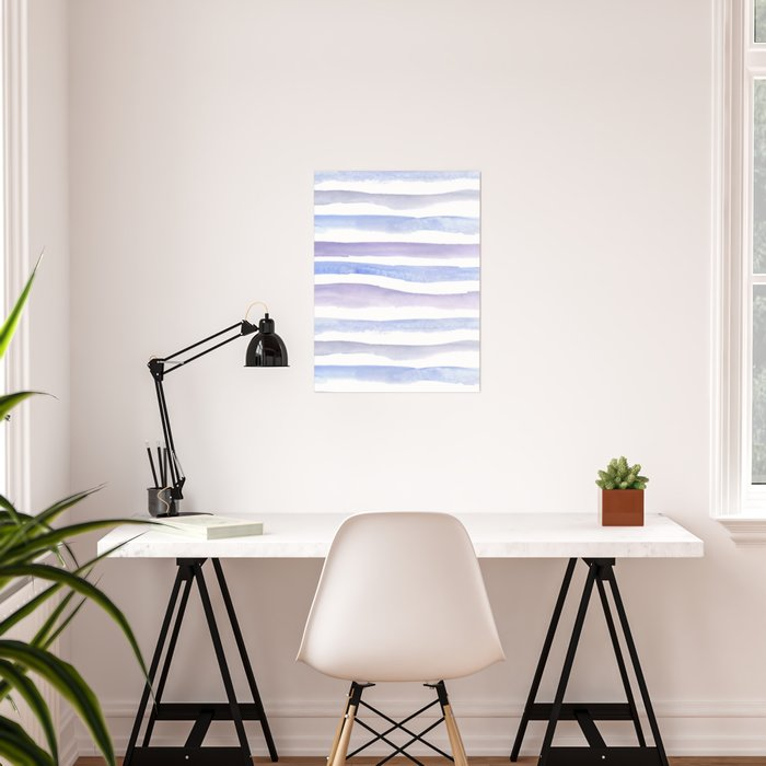 Pastel watercolors stripes purple and blue Poster