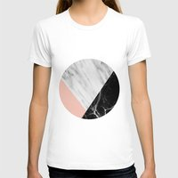 white marble T-shirts featuring Marble Collage by cafelab