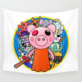 Cute Piggy with friends Wall Tapestry