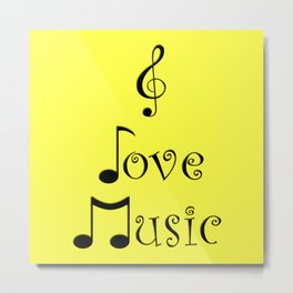 I Love Music - Yodeling Yellow Metal Print