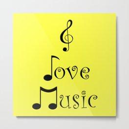 I Love Music - Yodeling Yellow Metal Print
