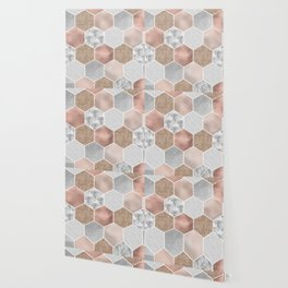 Gentle rose gold and marble hexagons Wallpaper