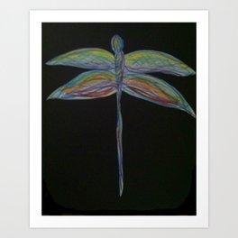 Dragonfly on Black Art Print
