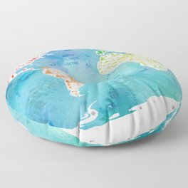 worldmap continents and oceans Floor Pillow