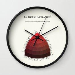 Le Rouge-Orangé (ses diverses nuances combinées avec le noir) Remake (Interpretation) Wall Clock