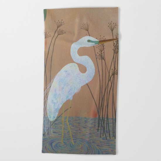 Unicorn Egret Beach Towel