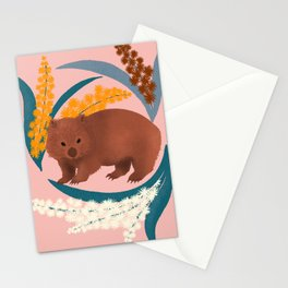 Wombat and Mimosa (aka waddle and wattle) Stationery Cards