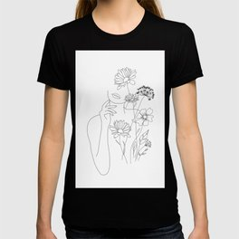 Minimal Line Art Woman with Flowers III T-shirt