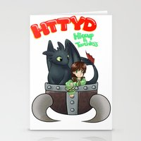 hiccup Stationery Cards featuring Hiccup and Toothless in a Helmet by snowrunt