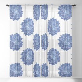 Indigo Succulent |  Watercolor Painting Sheer Curtain