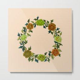 Minhwa: Peony Wreath Green A Type (Korean traditional/folk art)  Metal Print