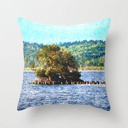 Tiny Island of The Big Lake Throw Pillow