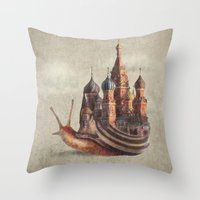 marine Throw Pillows featuring The Snail's Daydream by Eric Fan