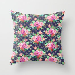 Pretty Christmas floral and snowflakes design Throw Pillow
