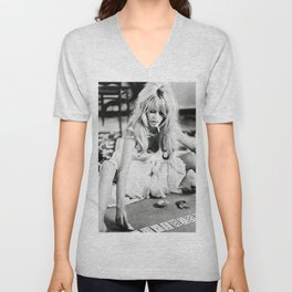Brigitte Playing Cards , vintage style , gift , fashion, wall art, classic photography Unisex V-Neck