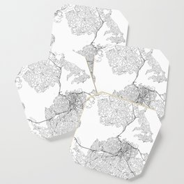 Auckland White Map Coaster