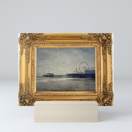 Vintage Santa Monica Pier framed Painting Mini Art Print