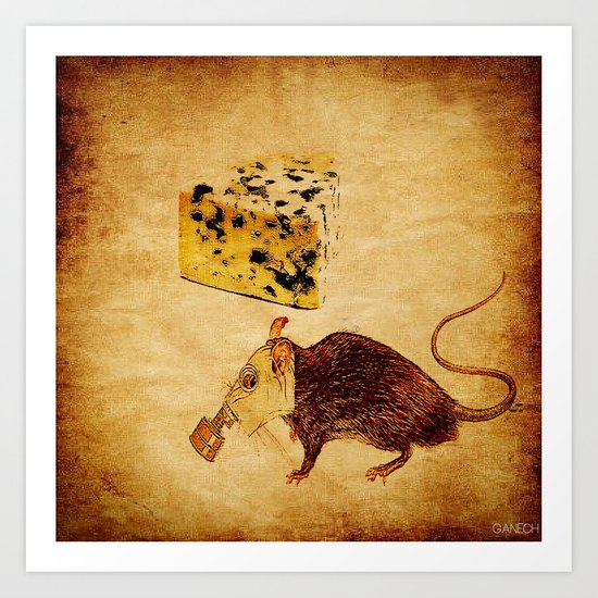 The rat which did not like the cheese Art Print