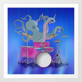 Octopus Playing Drums - Blue Art Print