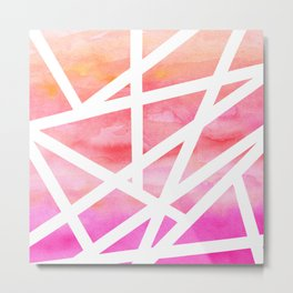 Modern handdrawn stripes geometric pink watercolor Metal Print