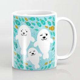 happy family of white seals and fish on a blue background. Coffee Mug