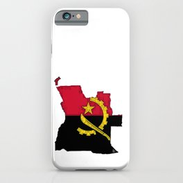 Angola Map with Angolan Flag iPhone Case