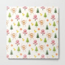 Pastel pink floral brown funny monkey yellow duck pattern Metal Print