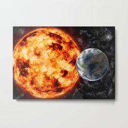 Planet Earth-Sun-Space Metal Print