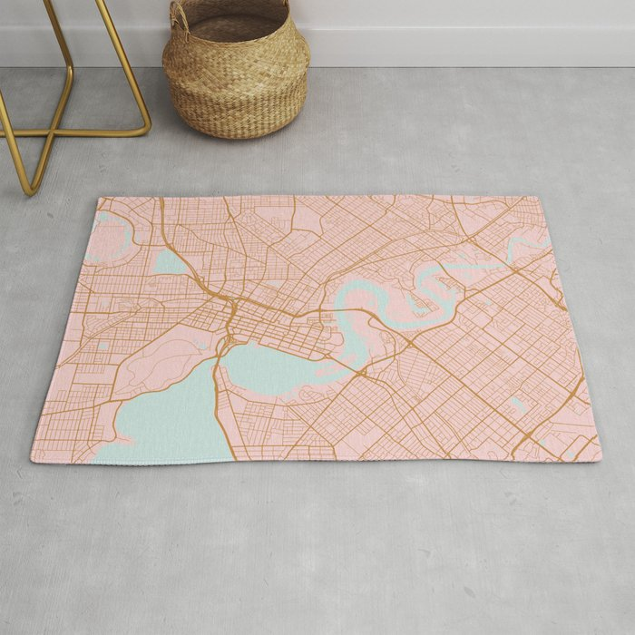 Pink And Gold Perth Map Australia Rug