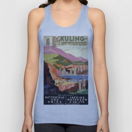 Vintage Kuling China Golfer's and Landscape Travel Unisex Tank Top