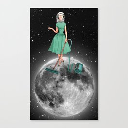 Housewife on the moon Canvas Print
