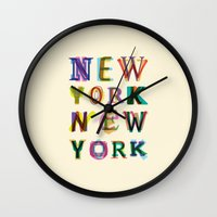new york Wall Clocks featuring New York New York by Fimbis