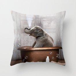 Elephant in Vintage Bathtub Throw Pillow