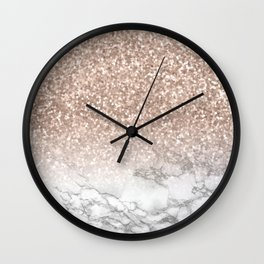 She Sparkles - Rose Gold Glitter Marble Wall Clock