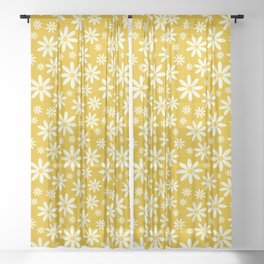 Retro Groovy Daisy Flower Power Vintage Pattern in Ivory, Golden Yellow Mustard Color, Oil Texture Sheer Curtain
