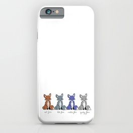 Cute Kawaii North American Fox Types Arctic Kit Red Gray iPhone Case